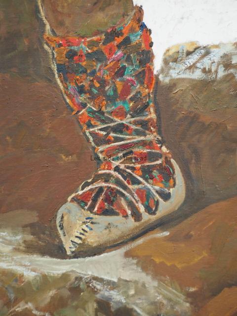 Traditional footwear in a modern war