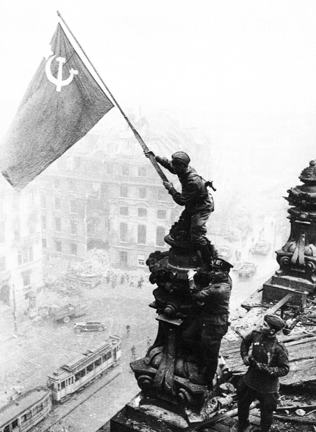 Soviet flag flies over the Reichstag, Berlin, May 1945