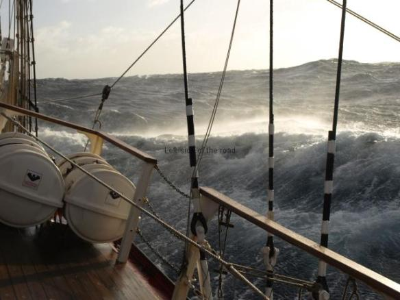 Gale in the Atlantic on a tall ship