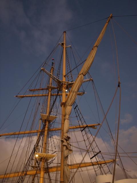 Tall ship masts at night