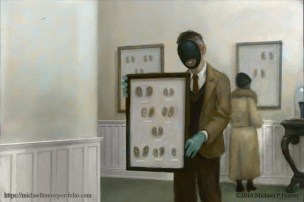 Man with Blue Gloves