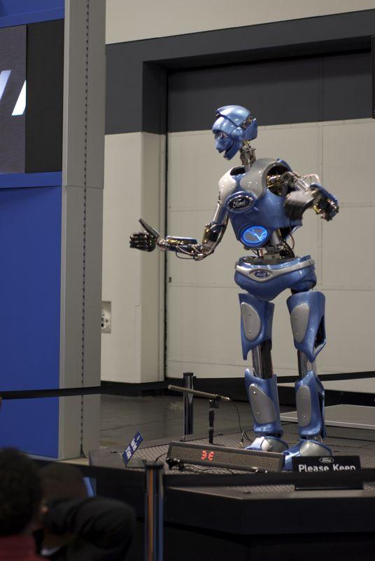 A friendly blue robot.
