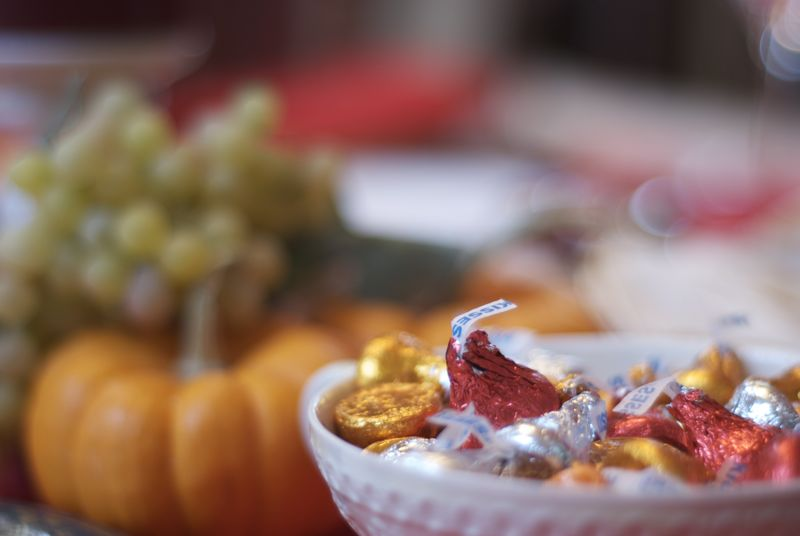 I love the bowls of candy present during the holidays.