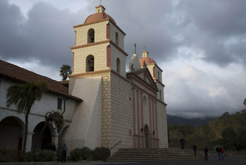 The Santa Barbara mission at sunset.