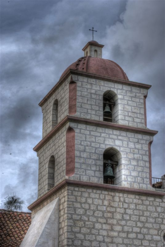 A tower on the Santa Barbara Mission.