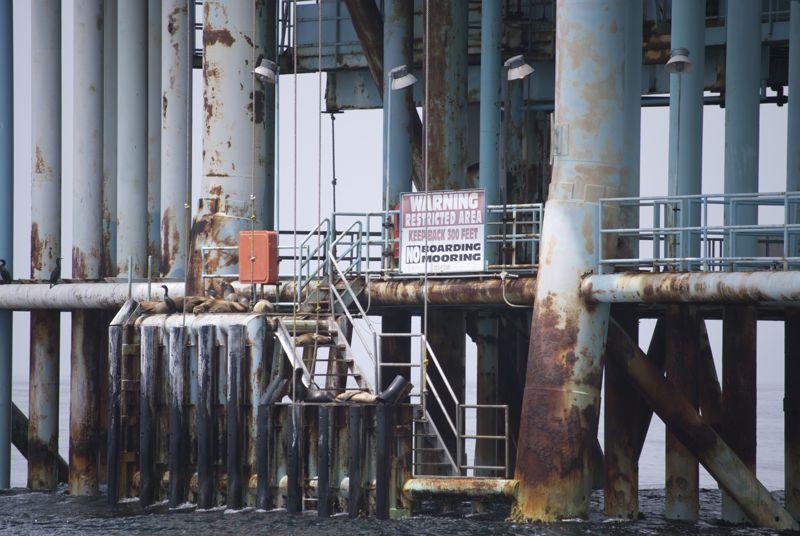 An oil platform off of the Santa Barbara coast.