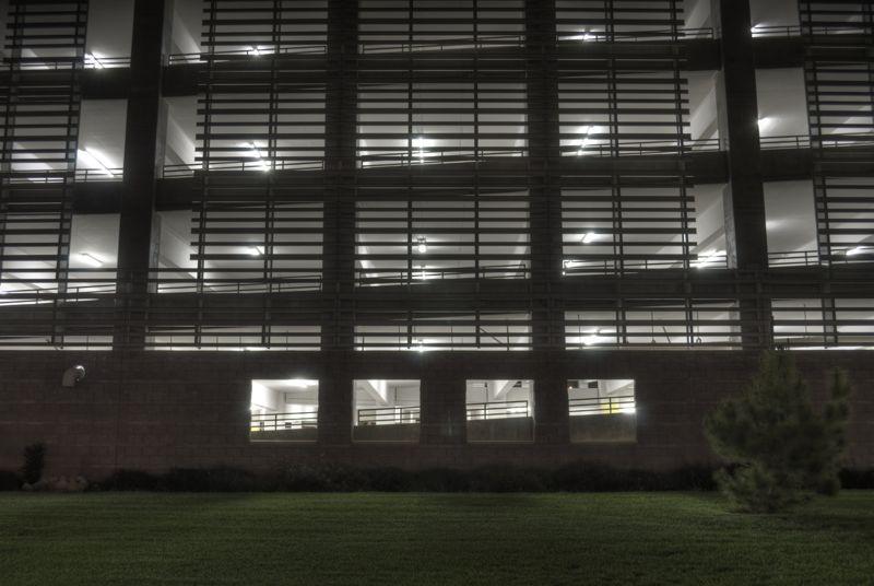 Parking garage at night, okay but won't make it to Flickr.