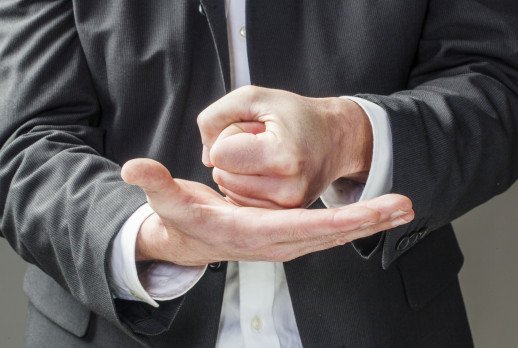 convinced business man hands talking
