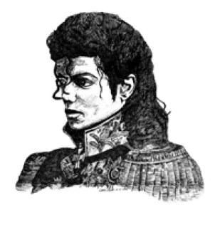 Karin Merx, Michael Jackson, ink on water colour paper