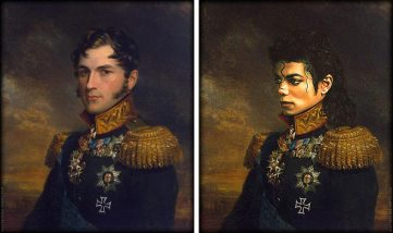 left original painting, right is MJ's face photoshopped in the costume.