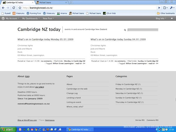 What's on in Cambridge NZ today