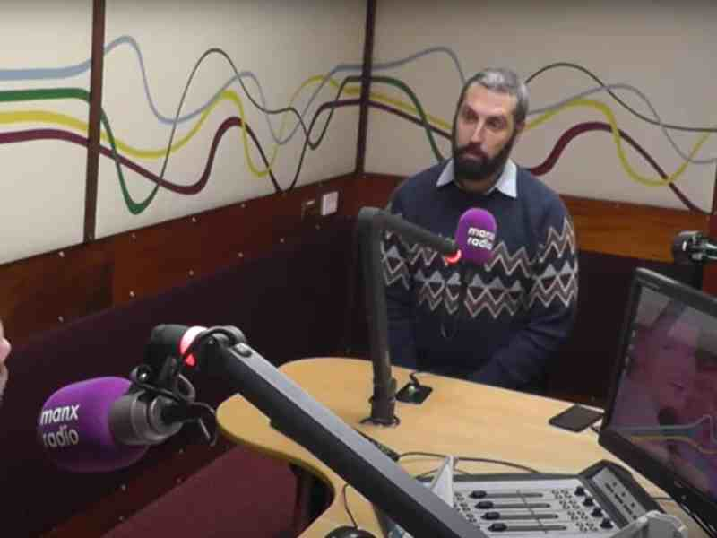 Josem in the Manx Radio studio discussing the Scheinberg case