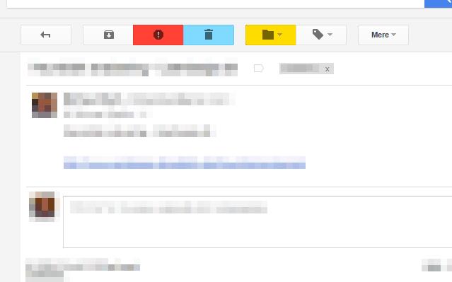 skærmprint der viser de visuelle ændringer, Better Gmail Buttons laver i Gmails interface