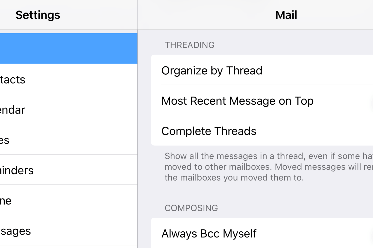 iOS 10 Mail threads