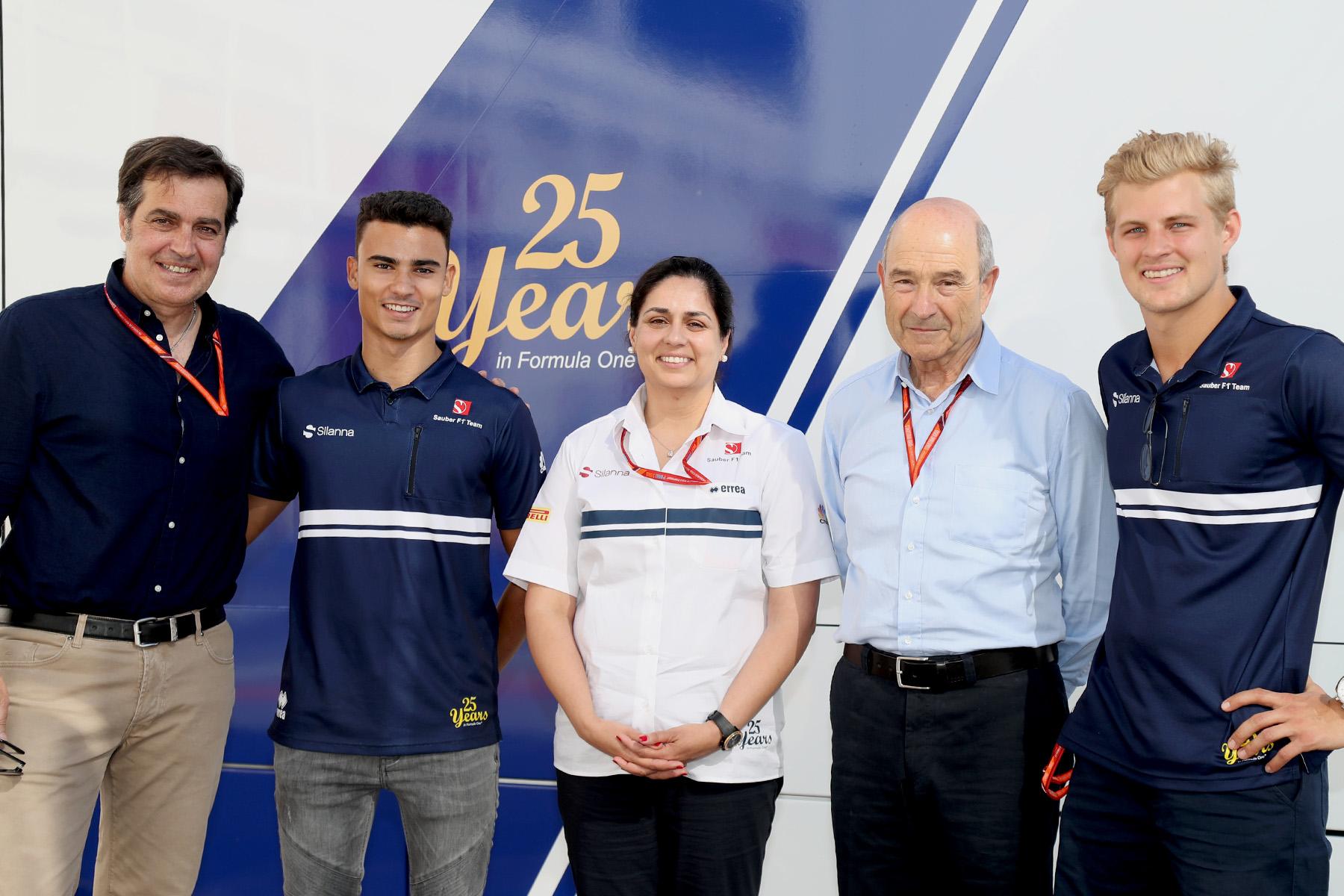 Sauber principal Monisha Kaltenborn with er drivers and team founder Peter Sauber