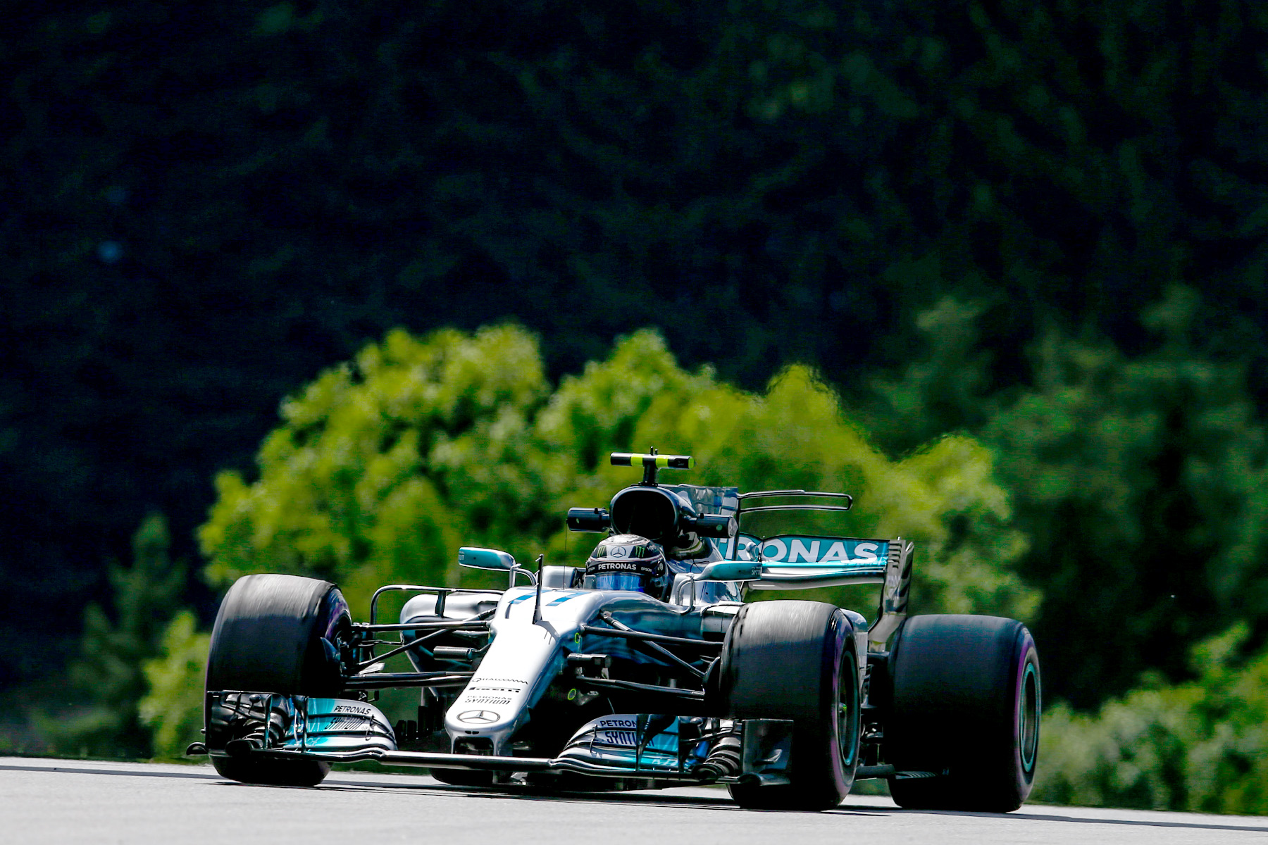 Valtteri Bottas in his Mercedes at Austria's Red Bull Ring.