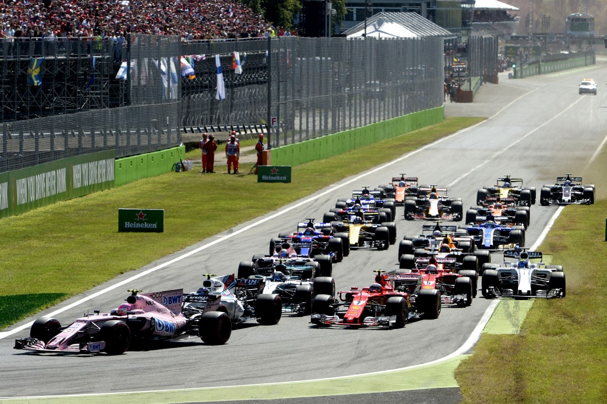 The first lap of the 2017 Italian Grand Prix.