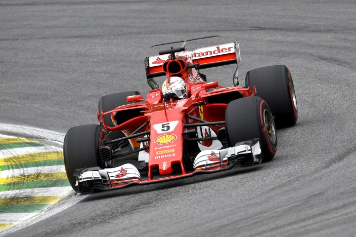 Sebastian Vettel on track at the 2017 Brazilian Grand Prix.