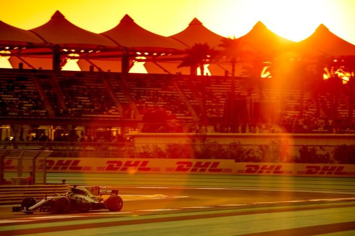 Lewis Hamilton on track at the 2017 Abu Dhabi Grand Prix.
