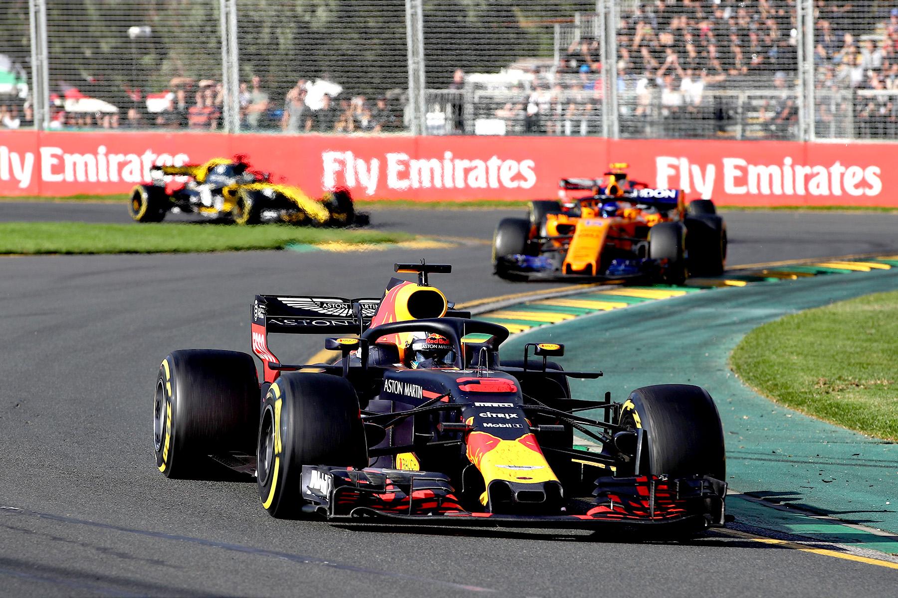 Daniel Ricciardo on track during the 2017 Australian Grand Prix.