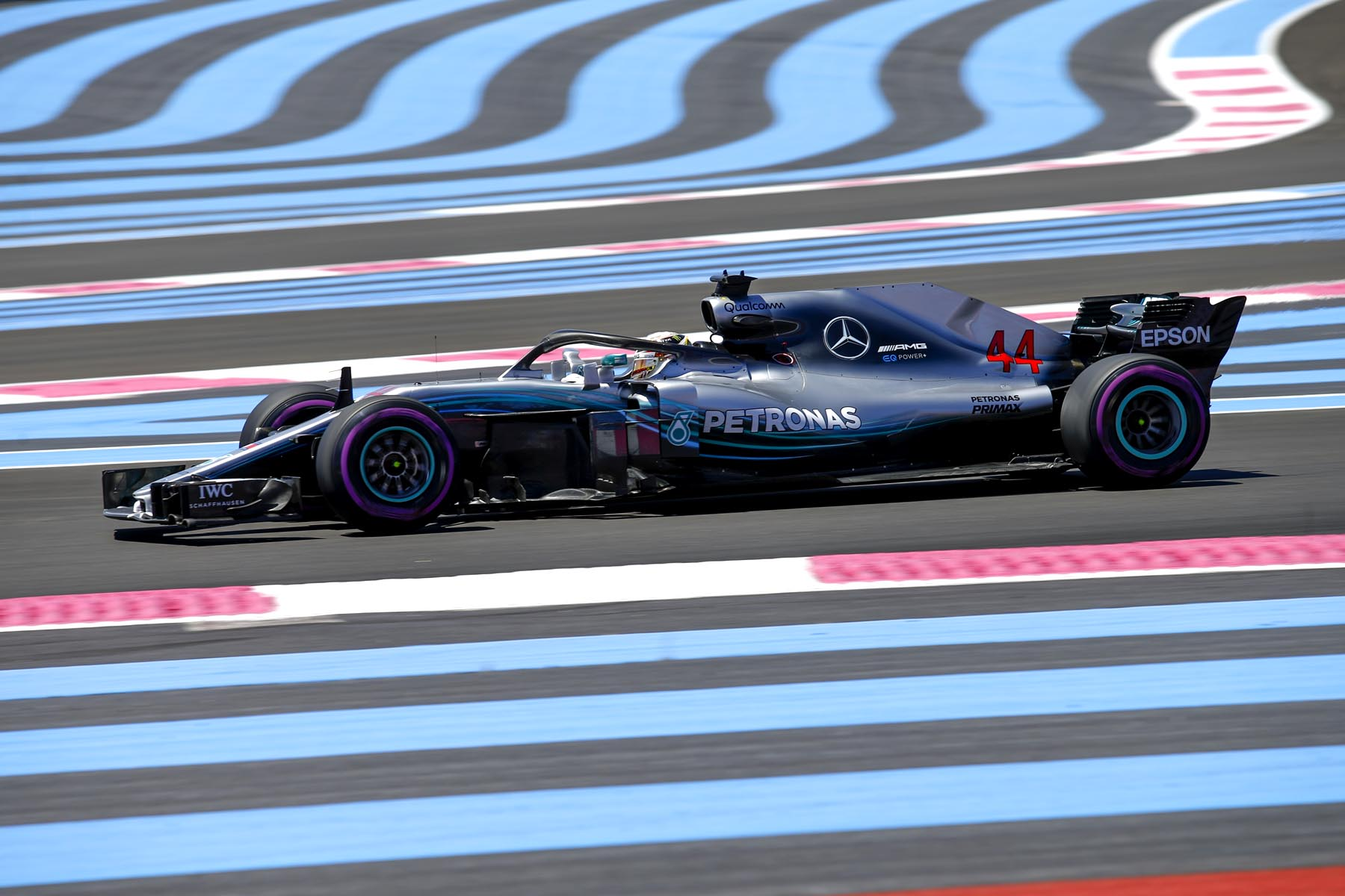 Lewis Hamilton on track at the 2018 French Grand Prix.