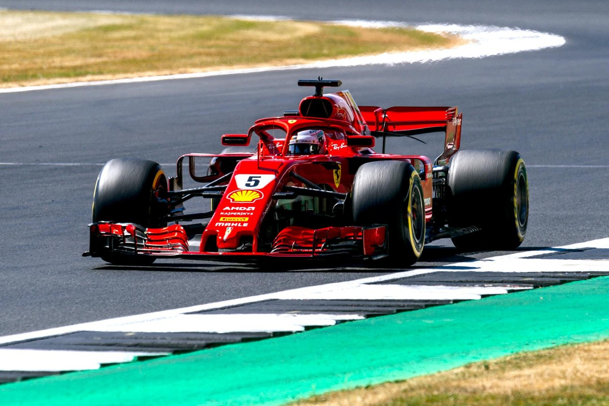 Sebastian Vettel on track at the 2018 British Grand Prix.