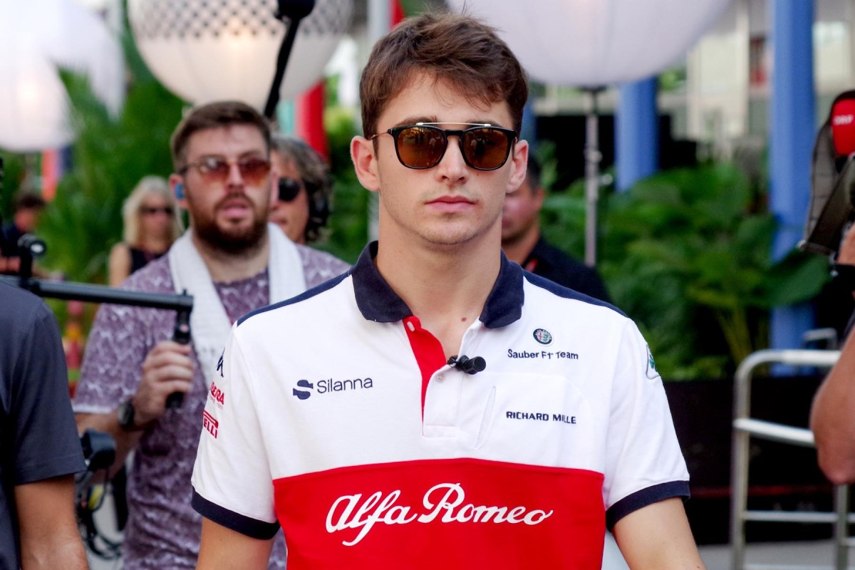 Charles Leclerc in the 2018 Singapore Grand Prix paddock.