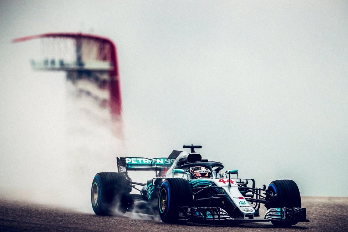 Lewis Hamilton on track at the 2018 United States Grand Prix.