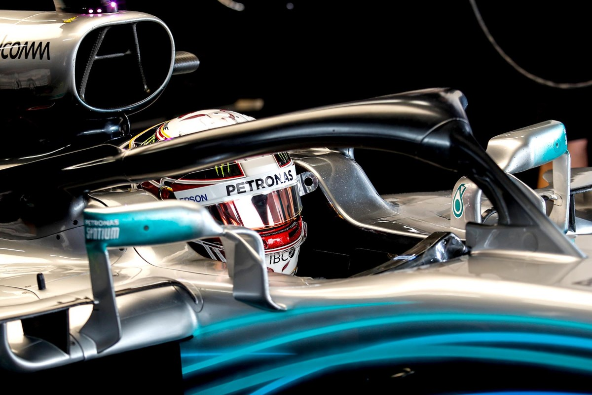 Lewis Hamilton in his car at the 2018 Japanese Grand Prix.