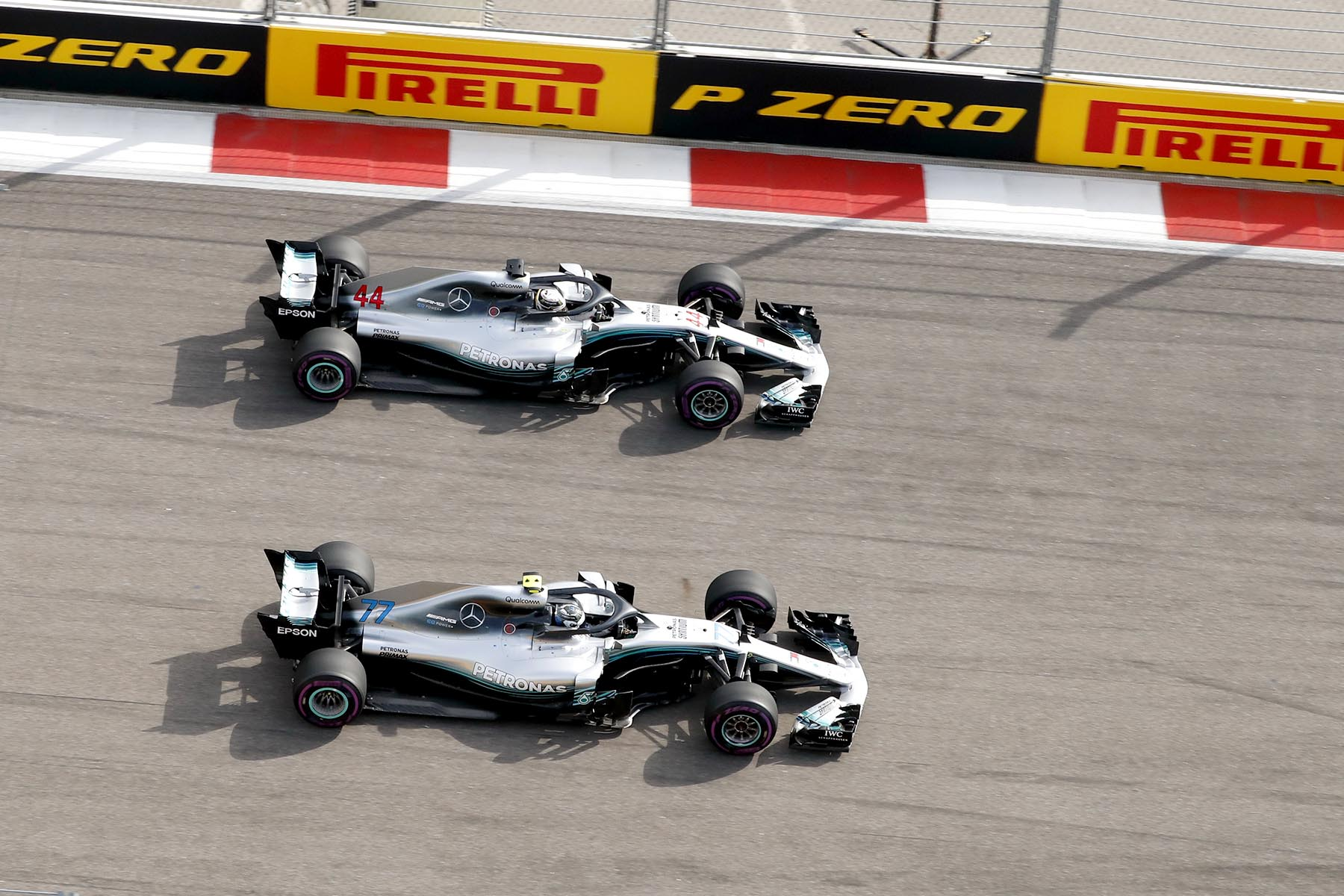 Valtteri Bottas and Lewis Hamilton in formation at the 2018 Russian Grand Prix.