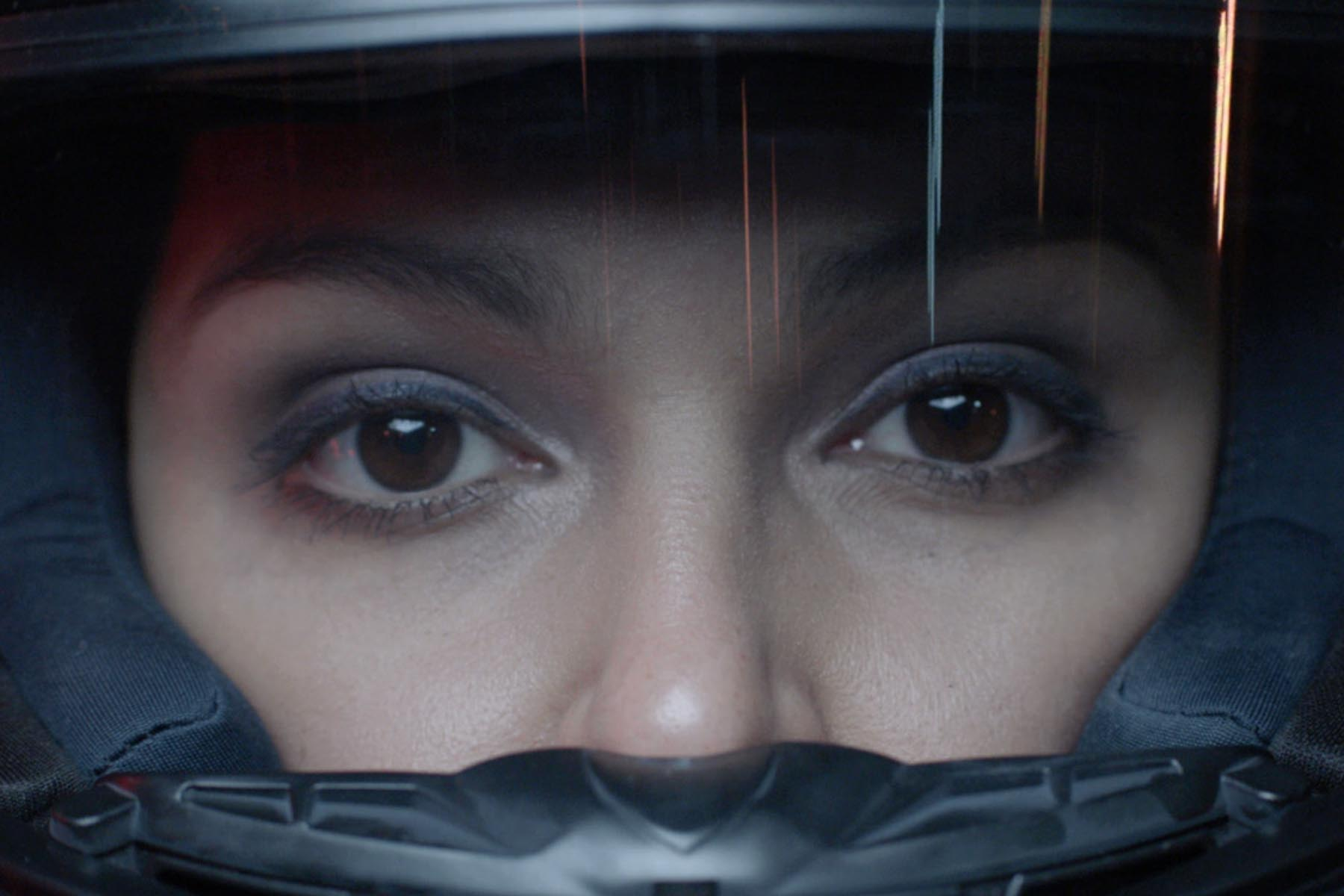 A female racing driver.