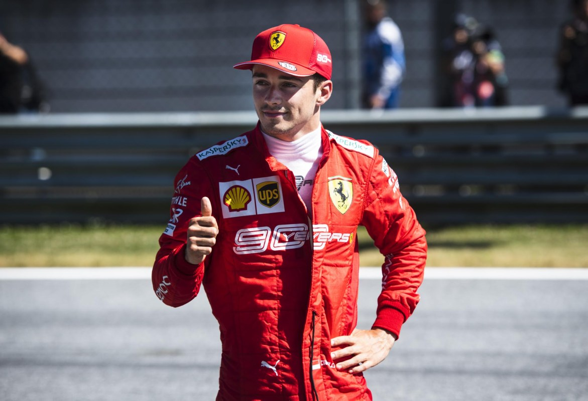 Charles Leclerc after taking pole in Austria.