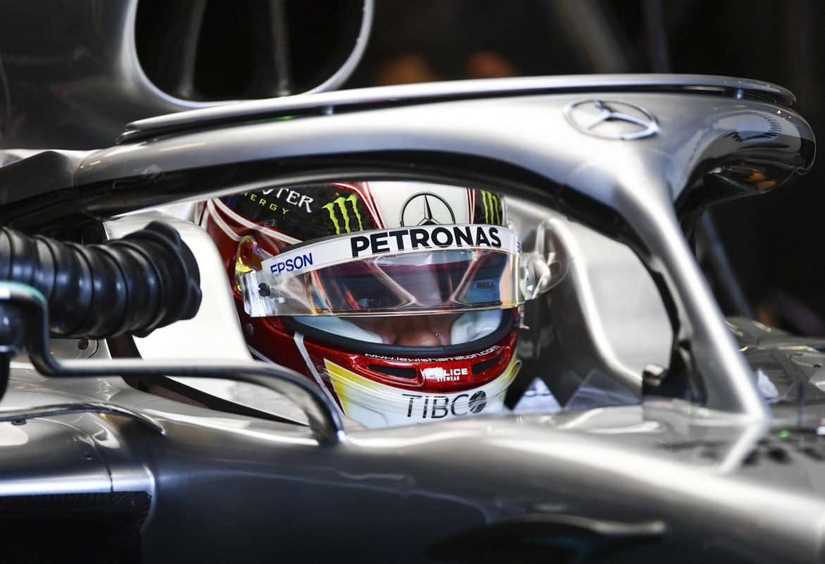 Lewis Hamilton in his garaged car at the 2019 Hungarian Grand Prix.