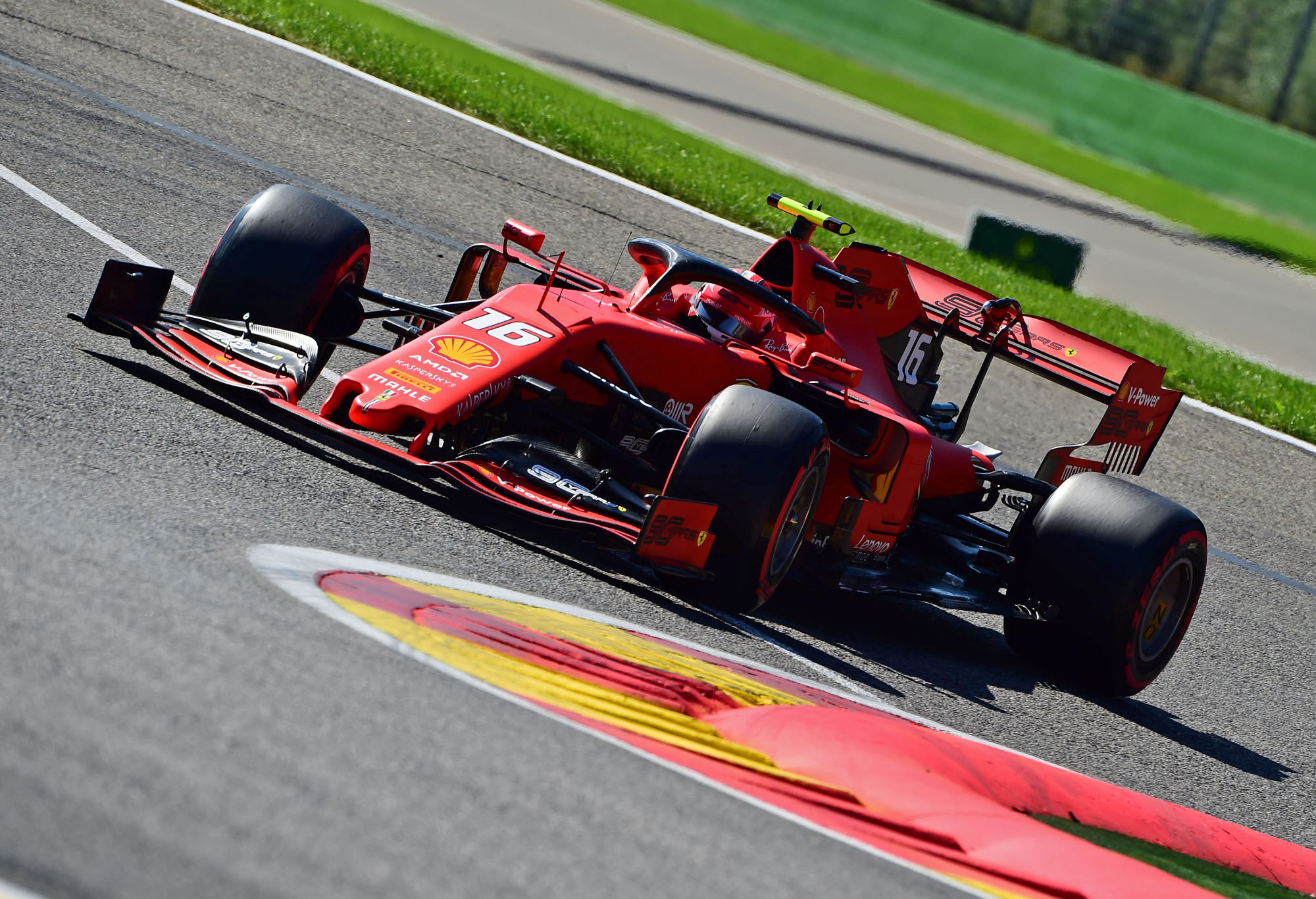 Charles Leclerc on track at the 2019 Belgian Grand Prix.