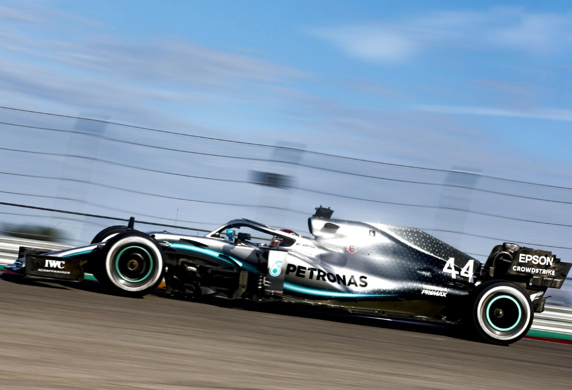 Lewis Hamilton on track at the 2019 United States Grand Prix.