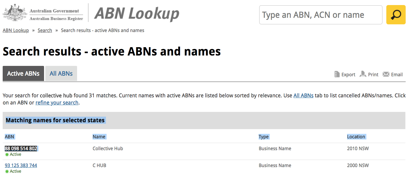ABN lookup search results
