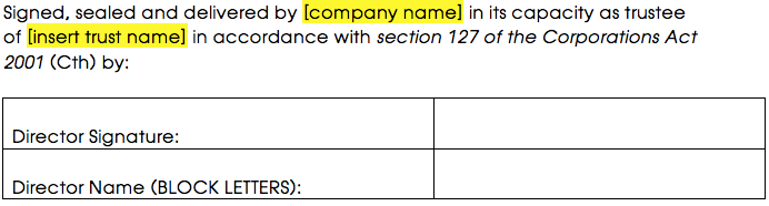Sample signature block for a corporate trustee with a sole director that is also the secretary