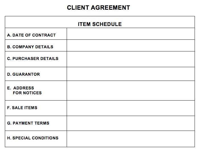 Client Agreement Schedule