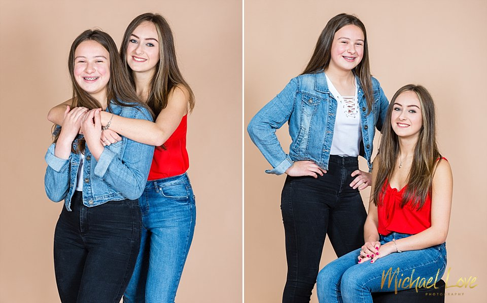 Two photos of sisters