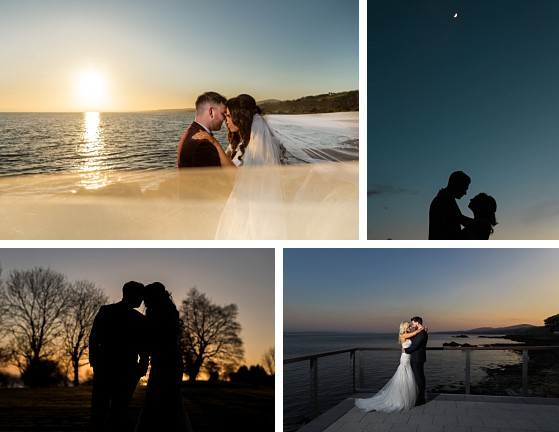 Twilight photos of wedding couple at Redcastle Hotel