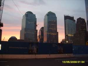 Lower Manhatten at sunset