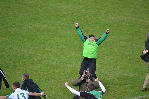 London manager Paul Goggins celebrates after London's historic win over Leitrim in the Connacht semi-final.