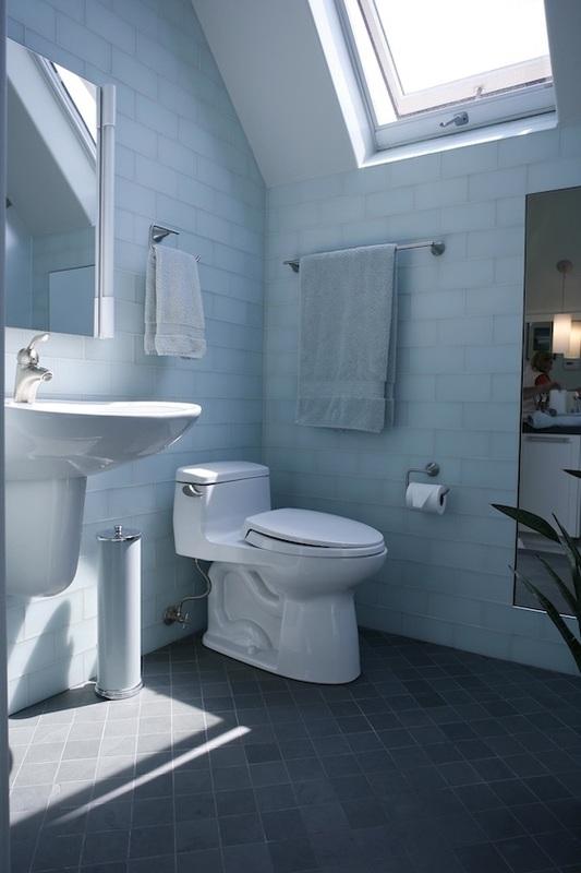 bathroom well lit with skylights