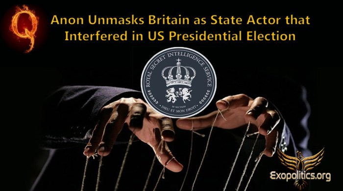 Q Anon unmasks Britain for interfering in US election