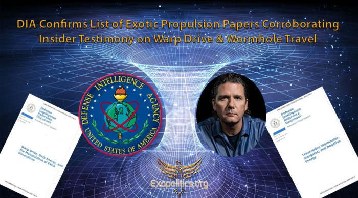 dia confirms list of exotic propulsion papers corroborating insider testimony on warp drive & wormhole travel