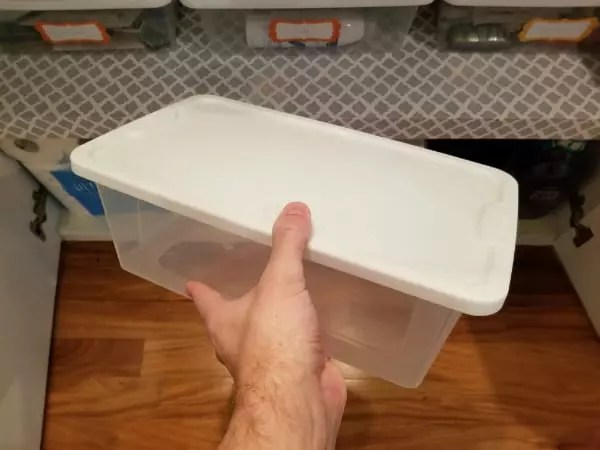 Use plastic containers like these to stay organized