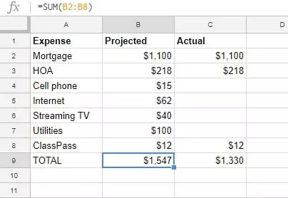 Fixed Expenses spreadsheet