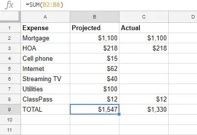Fixed Expenses spreadsheet