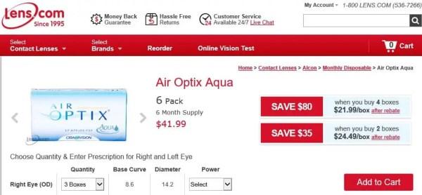 Air Optix Aqua - $41.99 per box