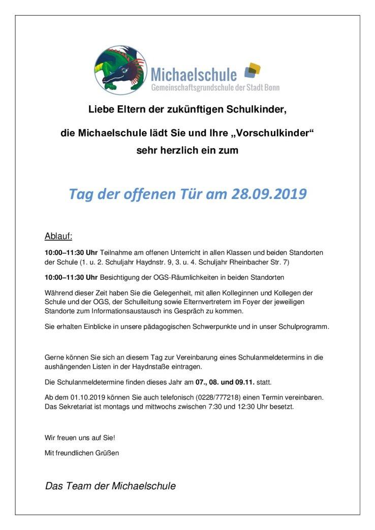 Info-Flyer zum Tag der offenen Tür